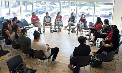 Oregon Indigenous Studies conference 2019 students sitting in round circle