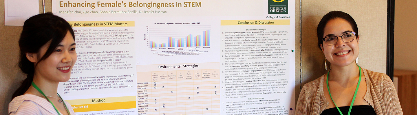 University of Oregon College of Education research students presenting STEM poster
